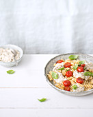 Fusilli with aubergine cream and cherry tomatoes