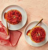 Pink grapefruit halves grilled with cinnamon