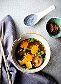Homemade miso soup with Autumn vegetables
