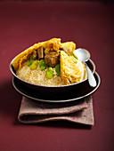 Couscous mit Rindlfleisch, Kohl und Bohnen