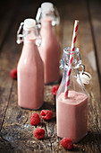 Raspberry banana and chestnut milkshake