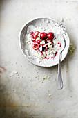 Coconut cream with cherries
