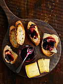 Cheese toasts and blackberry jelly