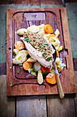 Gefüllte Hühnerbrust auf Gemüse