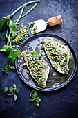 Sea bream with pine nut, basil and mint a la plancha