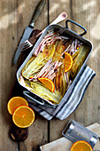 Chicorée mit Schinkenstreifen und Orangen