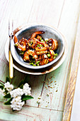 Shrimps saut� with honey,soya sauce,chili pepper and sesame seeds