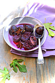 Figs stewed in red wine with star anise and vanilla
