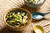 Egg drop soup with seaweed, egg and spring onions