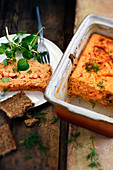 Salmon terrine with crayfish and dill