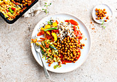 Wok veggie with chickpeas, peppers and rice