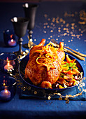 Christmas goose with dried fruit