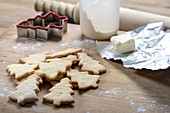 Christmas tree shaped biscuits.