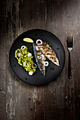 Grilled mackerel fillets with avocado puree
