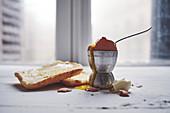 Toastbrot und ein weichgekochtes Ei im Eierbecher