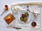 Honey and green tea cake for tea-time