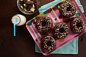 Donuts with chocolate frosting