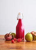 Detox juice, beet, raspberry, apple and quince