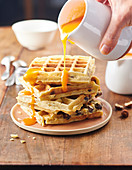 Waffles with hazelnuts, almonds and apricot coulis