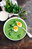 Watercress and potato soup with a poached egg