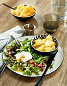 Dandelion salad with a poached egg,diced bacon and potatoes