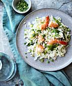Primavera shrimp risotto