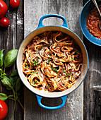Tagliatelles with vegetable Bolognaise sauce