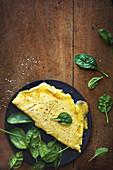 Runny spinach omelette