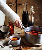 Preparing spicy hot wine