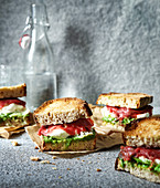 Red kale cabbage and pesto Italian sandwich