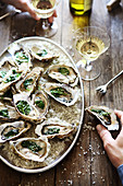 Oysters with Spinach and Sesame