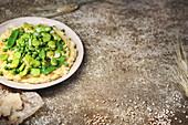Hirsotto mit grünem Gemüse