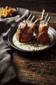 Roasted rack of lamb with fresh thyme