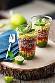 Rainbow salad with lime