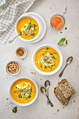 Carrot soup with curry, coconut milk and garam massala