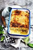 Cauliflower gratin with saithe