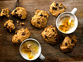 Carrot,walnut and chocolate chip biscuits