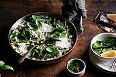 An oven-baked risotto made with short grain rice, chopped kale, spinach, lemon zest and grated cheese