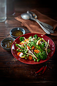 Crunchy vegetable salad with spicy coffee vinaigrette