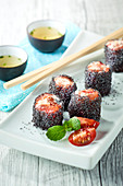 Tomato Maki with fresh cheese and poppy seeds