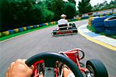 Men go-cart racing, rear view