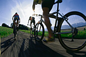Three mountainbikers on a road, Fuenfseenland, Upper Bavaria, Bavaria, Germany