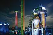 Light installation, Huette Meiderich, Duisburg, Ruhr Basin, Germany