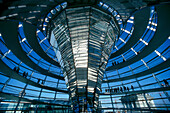 Glass dome of Reichstag indoors, Berlin, Germany