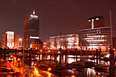 Harbour of Hamburg at night, Hamburg, Germany