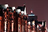 Night view of Speicherstadt, Hamburg, Germany