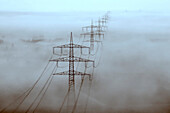 Power line through foggy Landscape