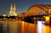 Cologne Cahedral, Hohenzollern Bridge, Cologne, North Rhine-Westphalia, Germany
