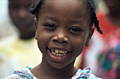Laughing Afro-Caribbean girl, St. Lucia, Caribbean, America