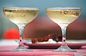 Close up of Champagne glasses, St. Lucia, Caribbean, America